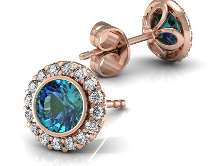 14k Rose Gold Stud Earrings with Diamond and Alexsandrite Item # LAEFW -00806