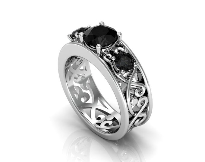 14k White Gold Wedding or Engagement Ring with Black Diamond Item # LAFW-000-X-355