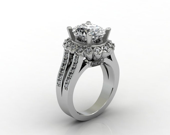 London 14k White Gold Classic Engagement or Wedding Ring with Diamond and White Sapphire Item # LARFW 00634