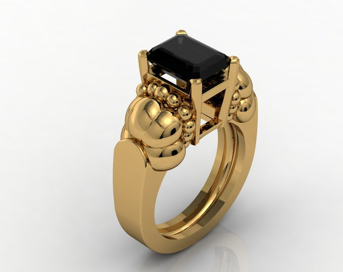 French Antique 14k Yellow Gold Engagement or Wedding Bridal with Black Diamond Item # RFW - 0033