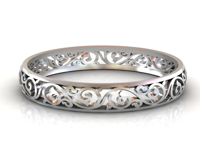 14K White Gold Bangles Bracelets Item # BFW-000-X-384