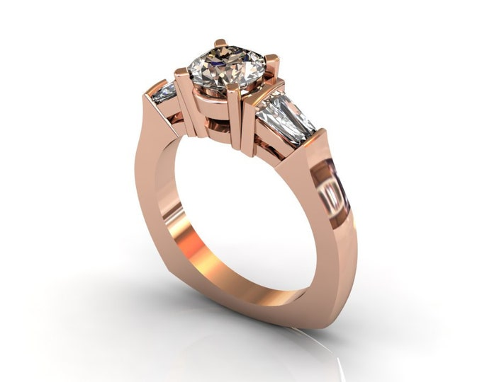 14k Rose Gold Wedding or Engagement Ring with Morganite and  Moissanite Item # LAFW-000-X-207