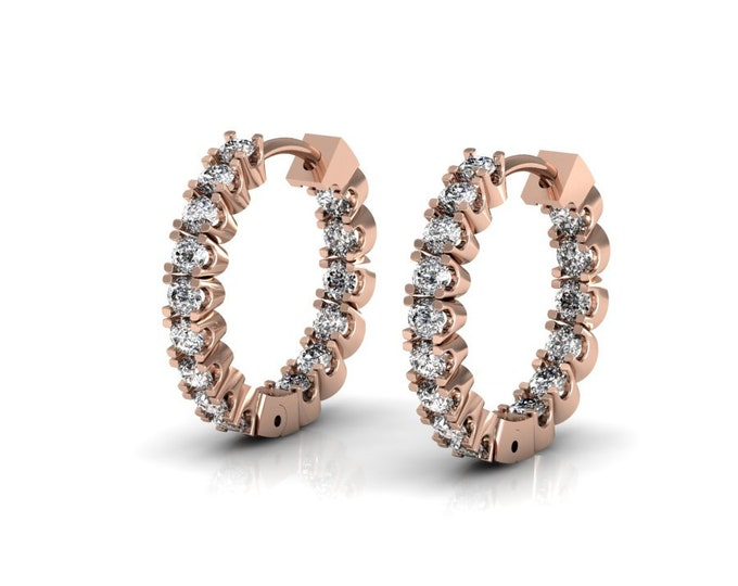 14k Rose Gold Classic Earrings with Diamond Item # LAFW-000-X-148