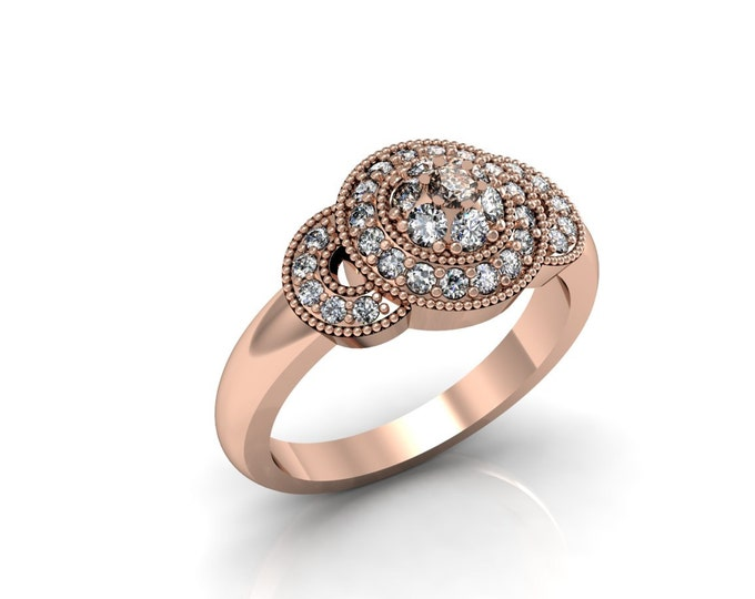 14k Rose Gold Classic Engagement or Wedding Ring with Diamond Item # LARFW -00716