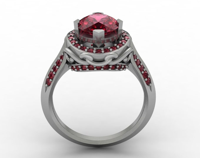 Venetian - 14k White Gold Classic Engagement or Wedding Ring with Ruby Item # : RFW -00398