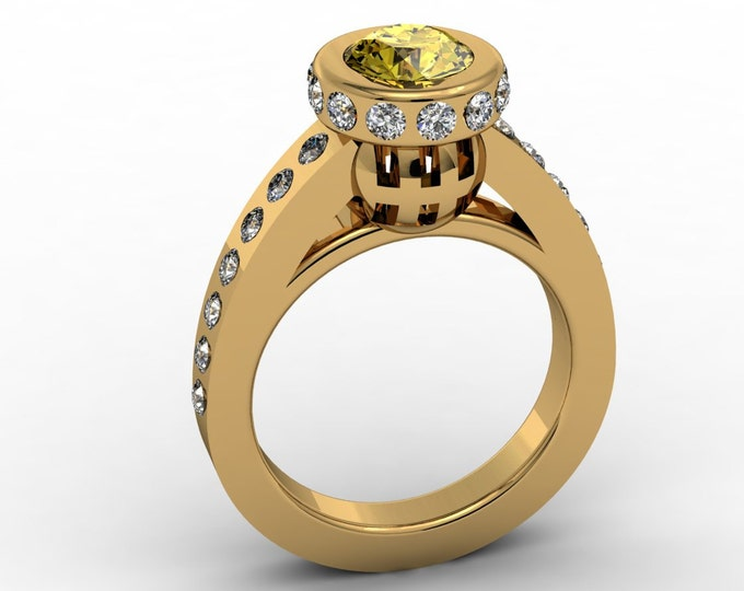 Lighthouse - 14k Yellow Gold Classic Engagement or Wedding Bridal with Yellow Sapphire and Diamonds (Item#: LAWR-0025)