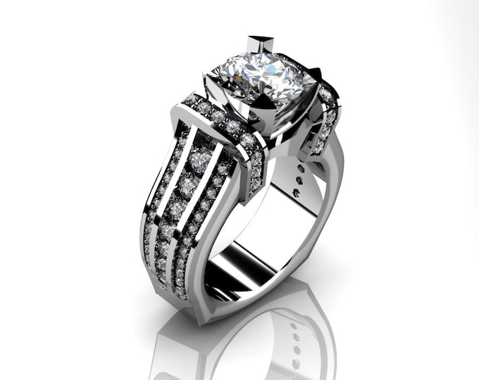 KING-14k White Gold Classic Wedding or Engagement Ring with Diamond and Moissanite Item # LAFW-000-X-362