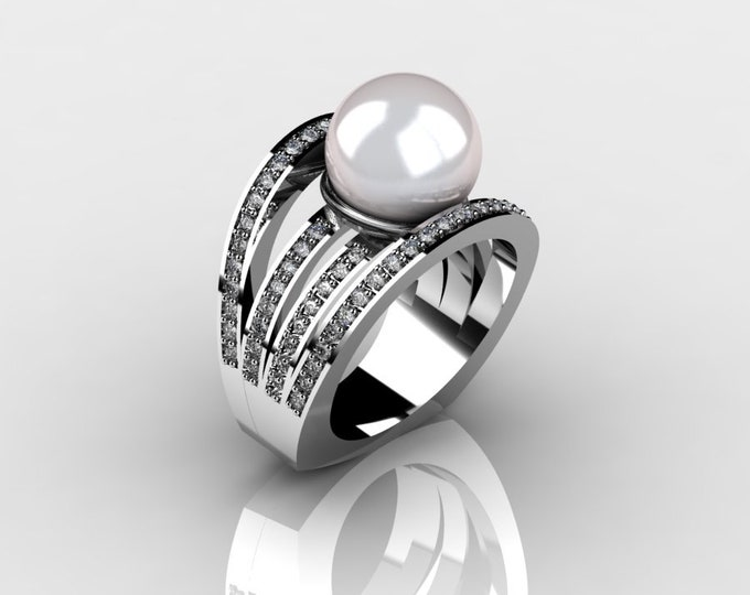 14k White Gold Classic Engagement or Wedding Ring with Diamond and Pearl Item # RFW000-X-266