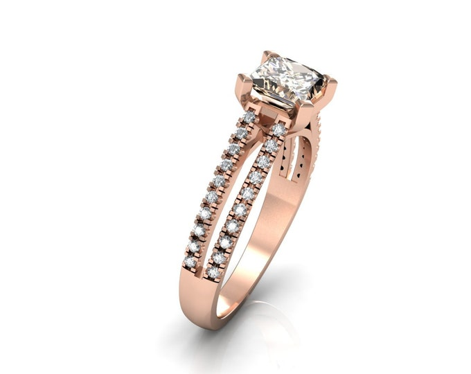 14k Rose Gold Classic Engagement or Wedding Ring with Diamond and Morganite Item # LARFW -00748