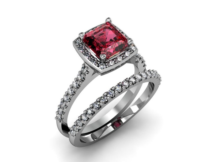 Elegant-14k White Gold Classic Engagement or Wedding Ring with Diamond and Ruby Item # LARFW-00850