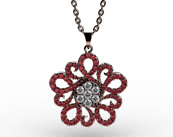 14k Rose Gold Pendants with 18 Inch Chain, Diamond, and Ruby Item # PFW-000-X-50