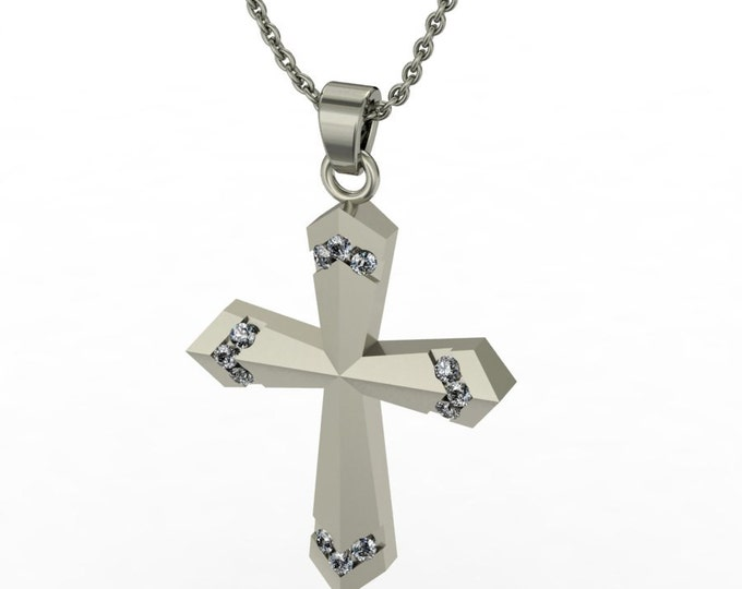 14k White Gold Classic Cross Pandant with Diamond and 18-inch Chaene Item # LARFW-00774