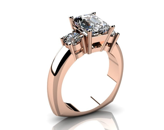 14k Rose Gold Wedding or Engagemnt Ring with Moissanite  Item # LAFW-000-X-215