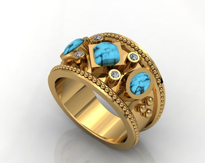 Vintage Style -18k Yellow Gold Classic Engagement or Wedding Ring with Diamond and Turquoise Cabochon stone Item # LARFW -00675