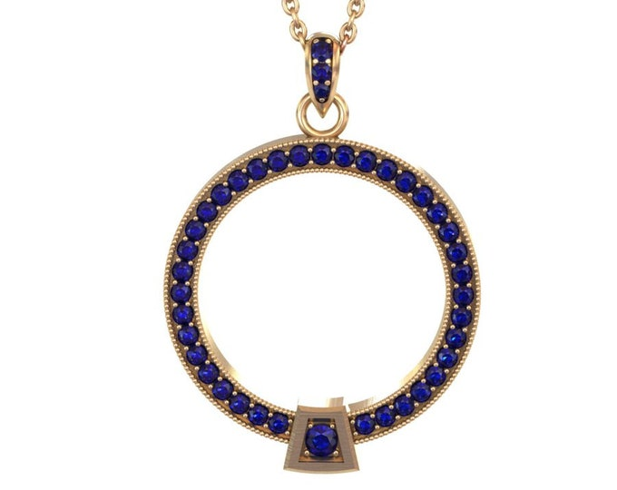 14k Yellow Gold wite Blue Sapphire Pandent item # LARFW-000-X-119