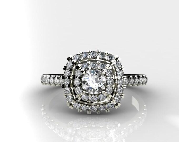 18k White Gold Engagement or Wedding Ring wite Diamond item # LARFW-000-X-121