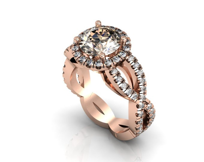 14k Rose Gold Wedding or Engagement Ring with Diamond and Morganite Item # LAFW-000-X-220