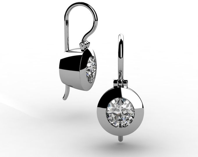 14k White Gold Shandelier Earrings with Moissanite Item # LAFW-000-X-153