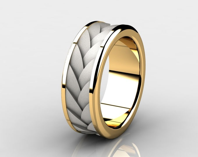 TURBINE - 14k Two Tone Yellow and White Gold Classic Engagement or Wedding Band Item # RFM-000-X-95