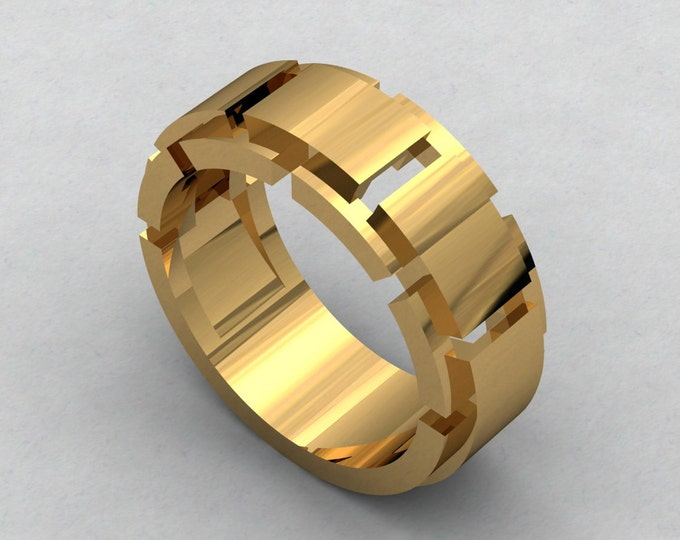 Chained - 18k Yellow Gold Classic Engagement or Wedding Band Item # RFM -00536