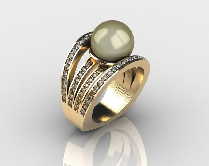 14k Yellow Gold Classic Engagement or Wedding Ring with Diamond and Golden Pearl Item # RFW000-X-267