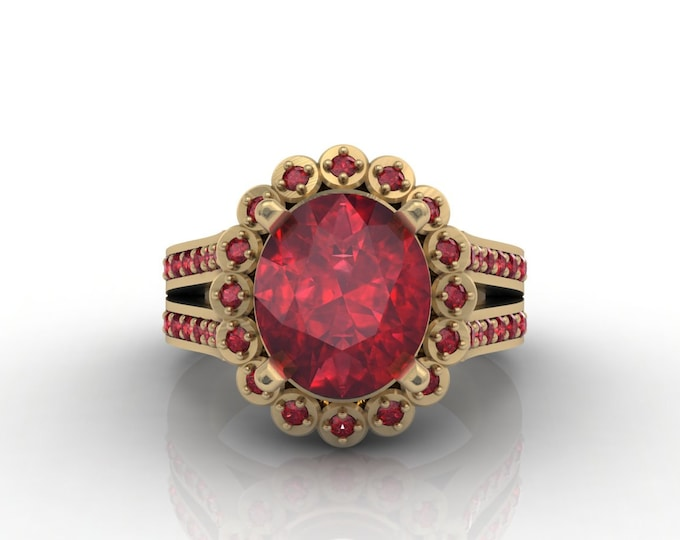 London 18k Yellow Gold Classic Engagement or Wedding Ring with Ruby Item # LARFW 00633