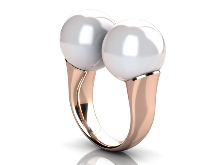 14k Rose Gold Classic Engagement or Wedding Ring with Cultured White Pearl Item # RFW-000-X-353