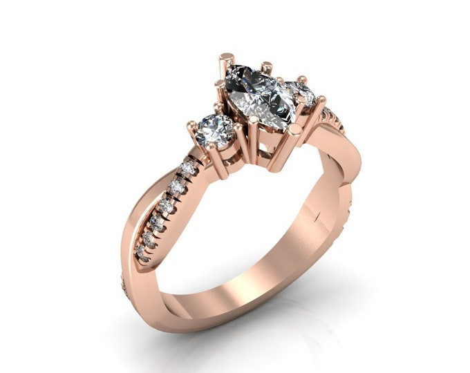 14k Rose Gold Wedding Ring With Diamond and Moissanite Item # LAFW-000-x-147