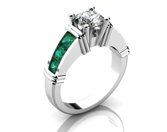 14k White Gold Classic Engagement or Wedding Ring with Moissanite,and Emerald Item # RFW000-X-271