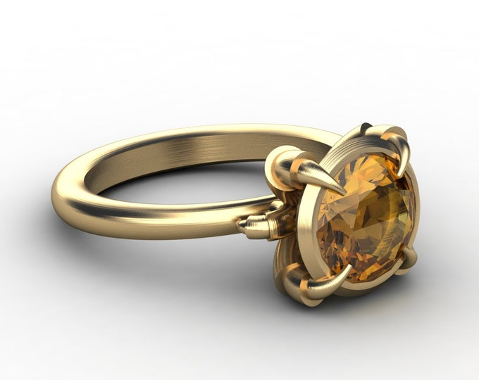 Eagles Catch - 14k Yellow Gold Engagement or Wedding Ring with Yellow Citrine (Item#: RFW-00201)
