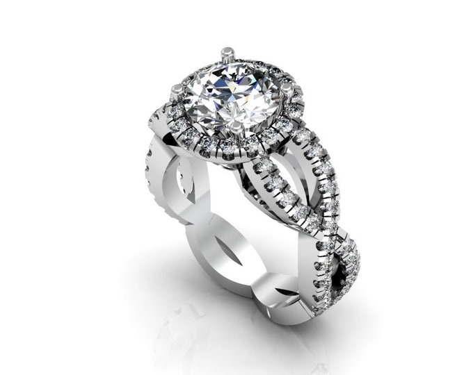 14k White Gold Wedding or Engagement Ring with Diamond and Moissanite Item # LAFW-000-X-222