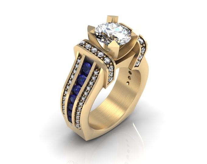 KING-14k Yellow Gold Classic Wedding or Engagement Ring with Diamond,Blue Sapphire and Moissanite Item # LAFW-000-X-360