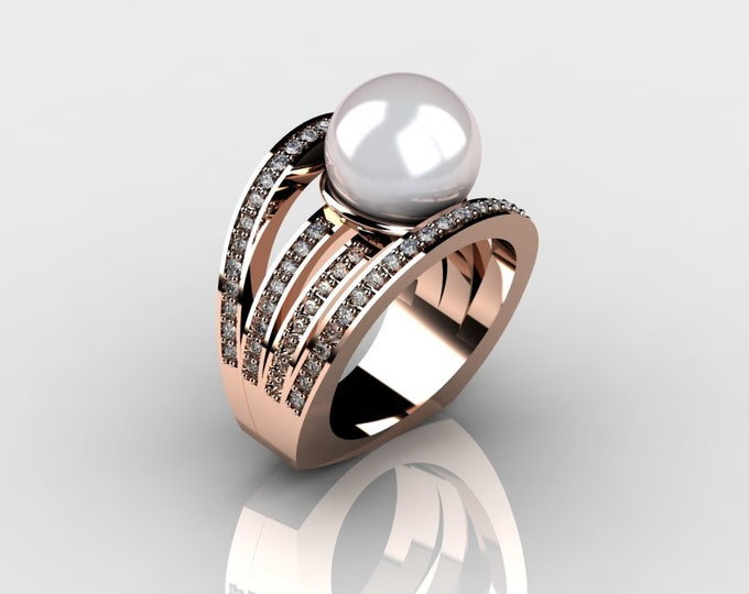 14k Rose Gold Classic Engagement or Wedding Ring with Diamond and Pearl Item # RFW000-X-265