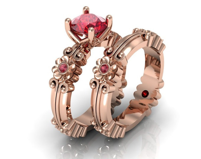 14k Rose Gold Wedding or Engagement Ring with Lab Created Ruby Item # LAFW-000-X-347