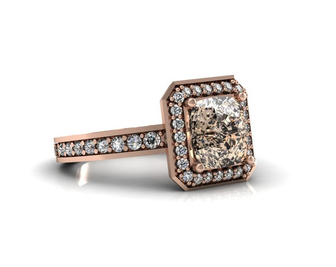 14k Rose Gold Wedding or Engagement Ring with Morganite and Diamond Item # LAFW-000-X-333