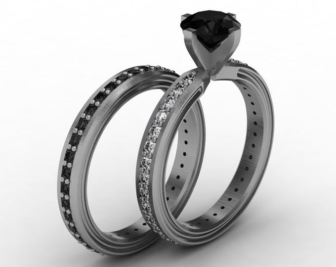 CHEMISTRY -14K White Gold Classic Engagement or Wedding Band with Diamond and Black Diamond Item #; RFW -00484