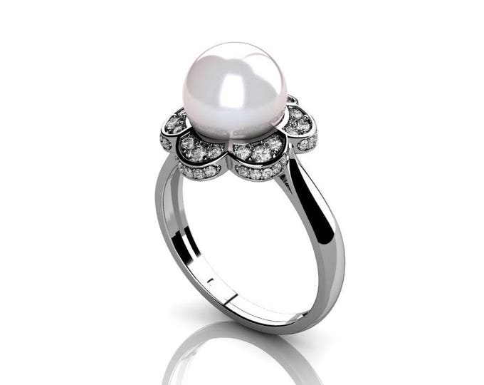 18k White Gold Classic Engagement or Wedding Ring with Diamond and Pearl Item # RFW-000-X7