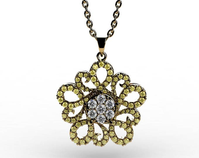 14k Yellow Gold Pendants with 18 Inch Chain, Diamond, and Yellow Sapphire Item # PFW-000-X-52