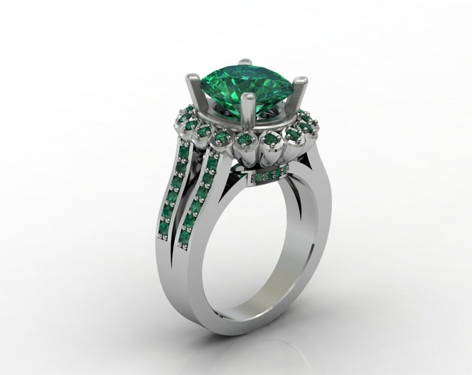 London 18k White Gold Classic Engagement or Wedding Ring with Emerald Item # LARFW 00637