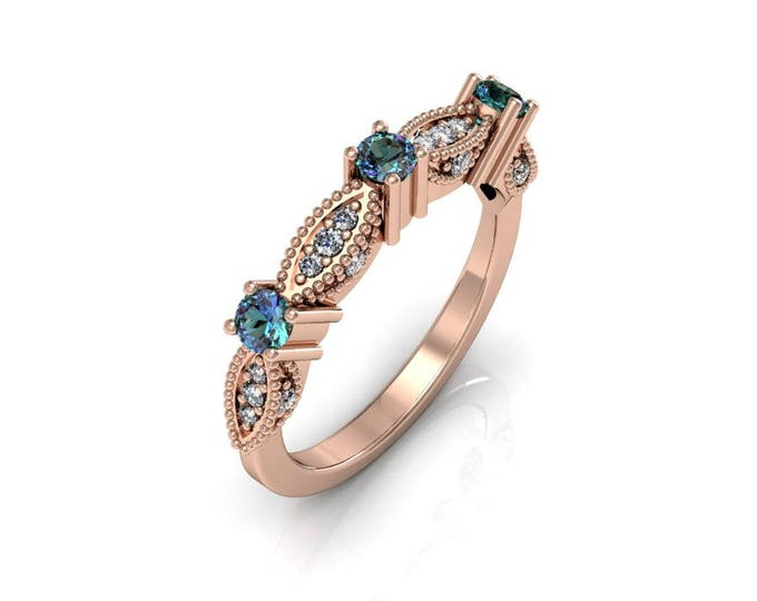 14k Rose Gold Classic Engagement or Wedding Ring with Diamond and Alexsandrite Item # RFM-000-X-77