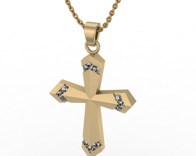 14k Yellow gold Classic cross pandant with Diamond and  18-inch  Chaen Item # LARFW -00773
