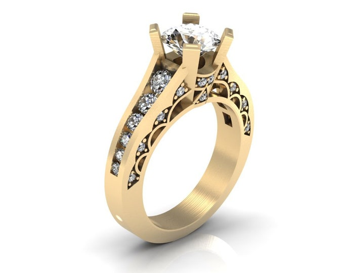 14k Yellow Gold Classic Engagement or Wedding Ring with Diamond and Moissanite Item # RFW000-X-301