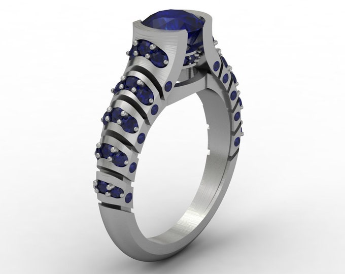 Volcano 14k white Gold Classic Engagement or Wedding Ring with Blue Sapphire Item #; RFM -00325