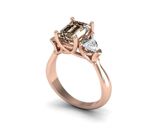14k Rose Gold Classic Engagement or Wedding Ring with Morganite and Moissanite Item # RFW-000-X-16