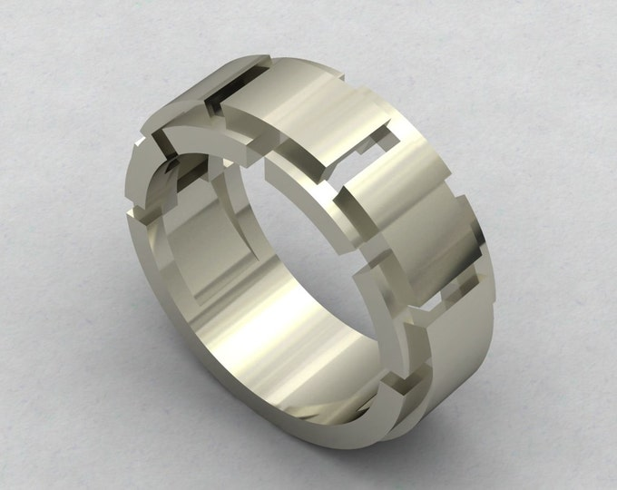 Chained -  14k White Gold Classic Engagement or Wedding Band Item # RFM -00535
