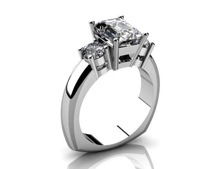 14k White Gold Wedding or Engagemnt Ring with Moissanite Item # LAFW-000-X-216