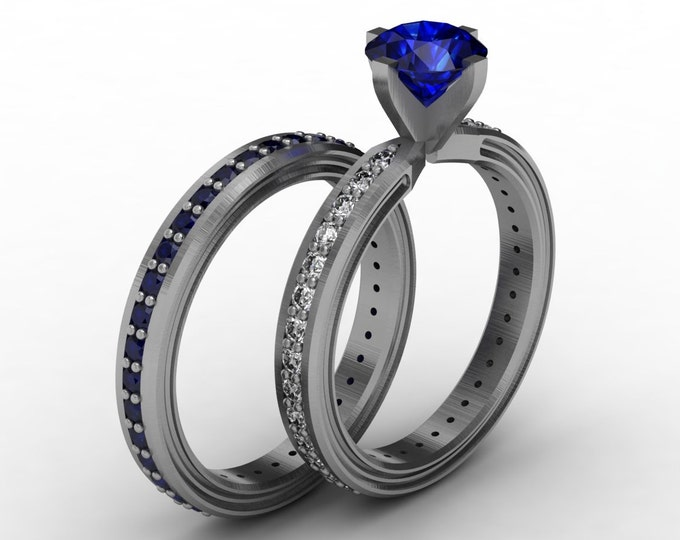 CHEMISTRY -14K White Gold Classic Engagement or Wedding Band with Diamond and Blue Sapphire Item #; RFW -00486