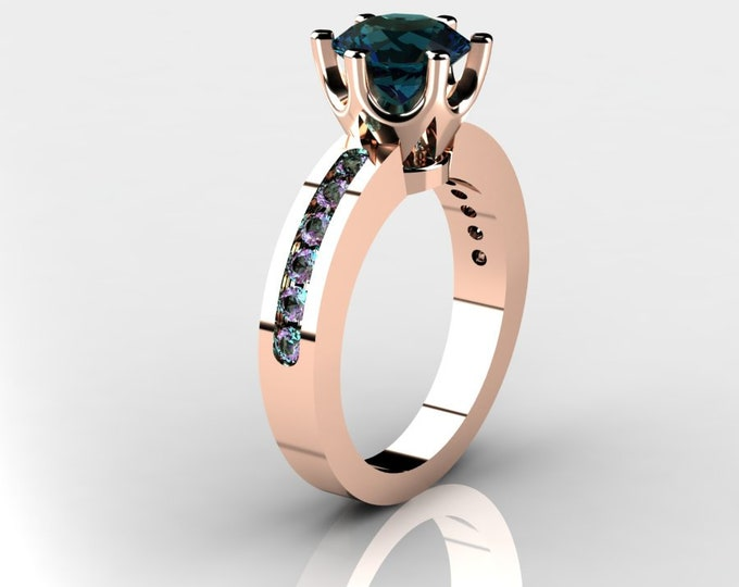 14k Rose Gold Wedding or Engagement Ring with lab created Alexsandrite Item # LAFW-000-X-346