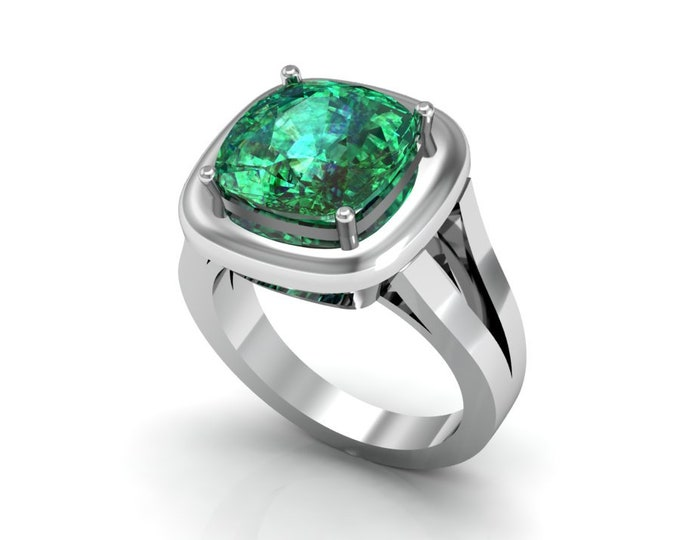 14k White Gold Anniversary Ring with Lab Created Emerald Item # LAFW-000-X-200
