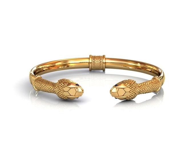 SNAKE-14K Yellow Gold with Blue Sapphire Bangles Bracelets Item # BFW-000-X-387